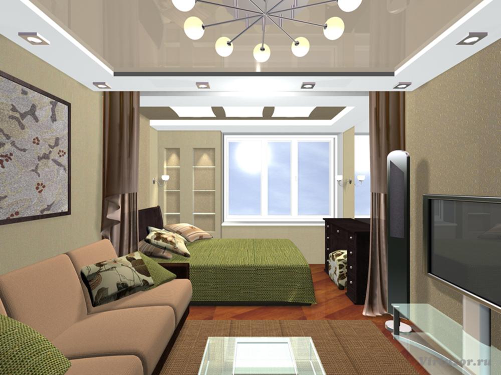 Интерьер гостиной и спальни в одной комнате 18 кв.м фото