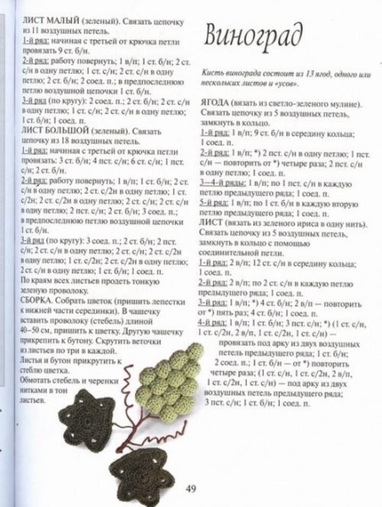 Как вязать гроздь винограда