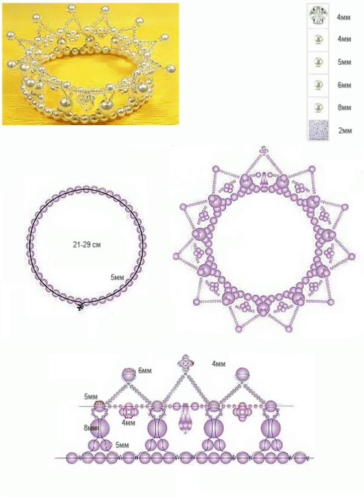 Как сделать корону из бисера своими руками схемы 94