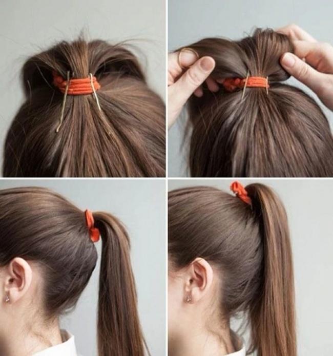 Как сделать хвост только из волос 300