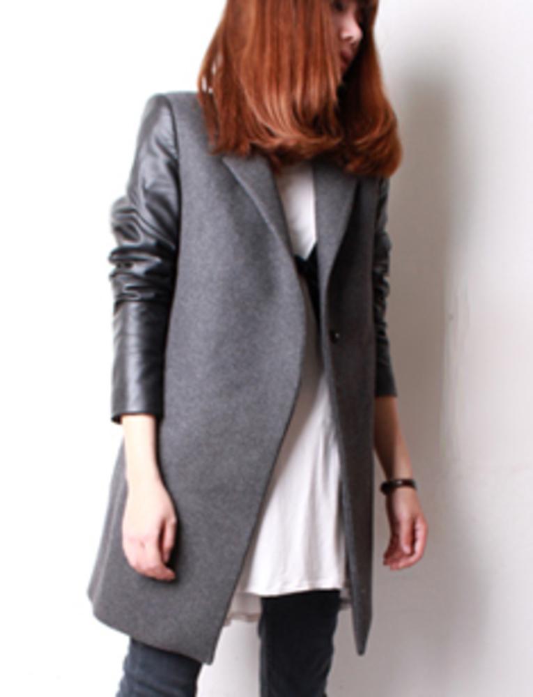 Фото пальто женское к кожаными рукавами