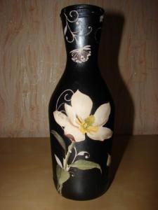 Как сделать вазу из бутылки декупаж