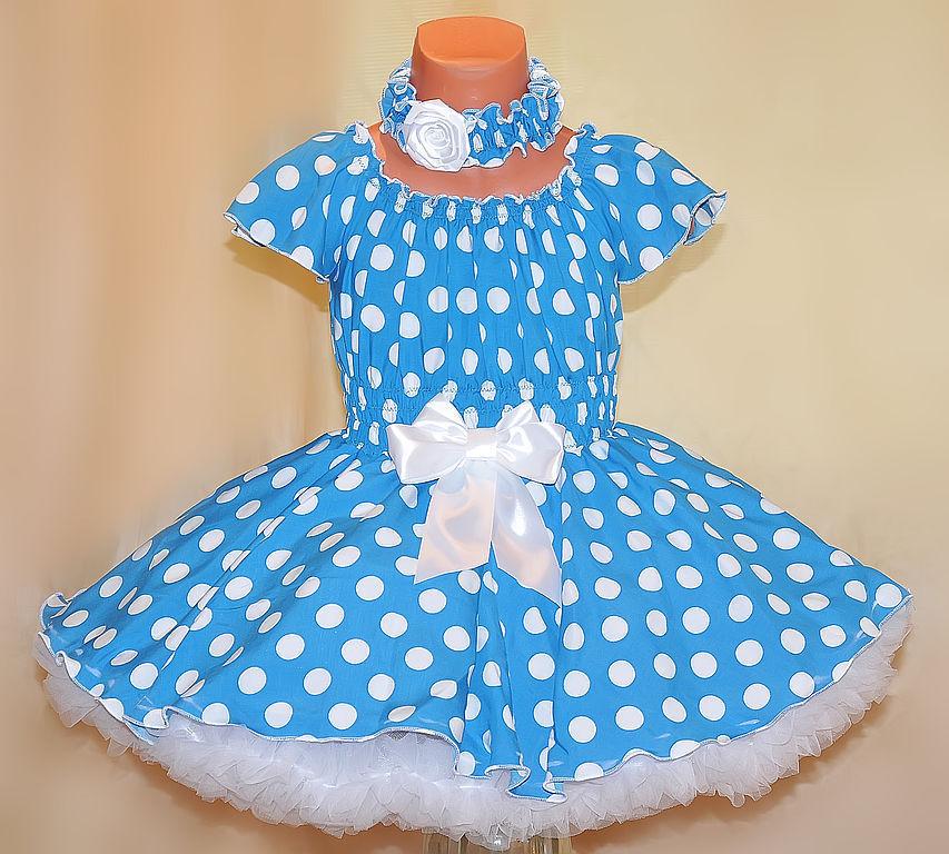 Как сшить детское платье с горошком