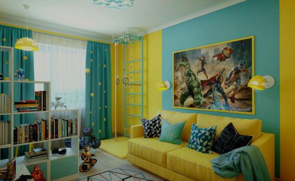увеличения бирюзовый цвет в детской комнате для мальчика фото одну