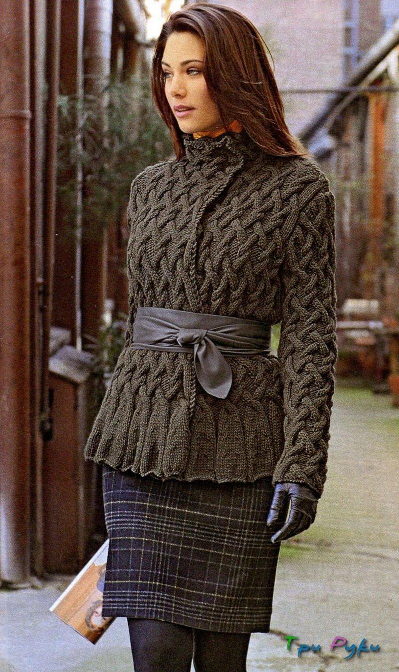 Вязание женских теплых кофт спицами 59